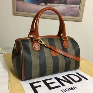 FENDI Pequin Striped PVC/Leather Boston Bag 💼